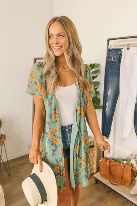 Short Sleeve Floral Wrap Dress - Dark Mint Multi