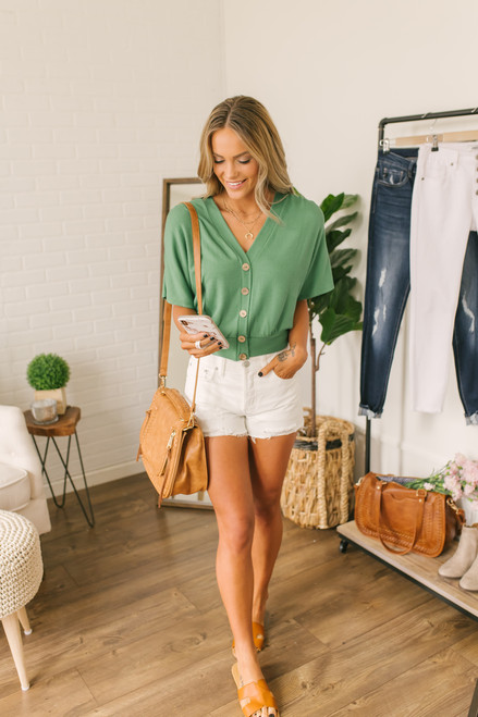 Short Sleeve Button Detail Ribbed Top - Green - FINAL SALE