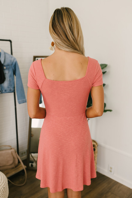 Square Neck Ribbed Knit Dress - Coral