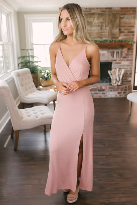 Spring Wishes Surplice Slit Maxi - Dusty Peach
