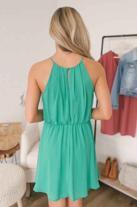 Open Back Pleated Halter Dress - Green