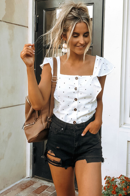Ruffle Sleeve Button Down Dotted Top - White/Black - FINAL SALE