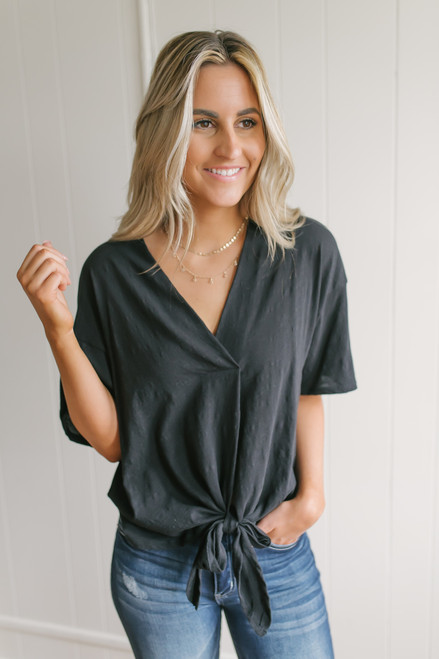 V-Neck Slub Knit Knot Top - Black  - FINAL SALE