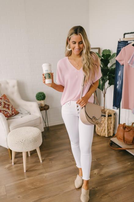 Kendra Dolman Sleeve Seam Detail Top - Pink
