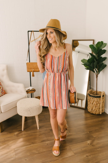 V-Neck Desert Striped Dress - Red Multi  - FINAL SALE