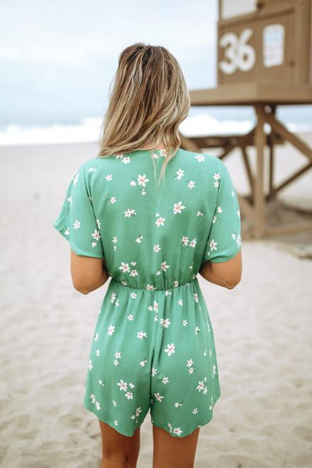 Short Sleeve Surplice Knot Lily Romper - Green Multi