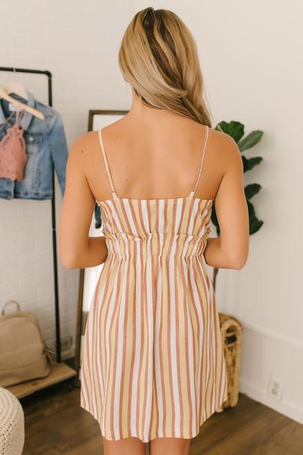 Button Detail Drawstring Striped Dress - Yellow Multi
