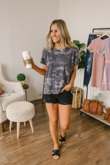 Free People Army Tee - Grey Camo