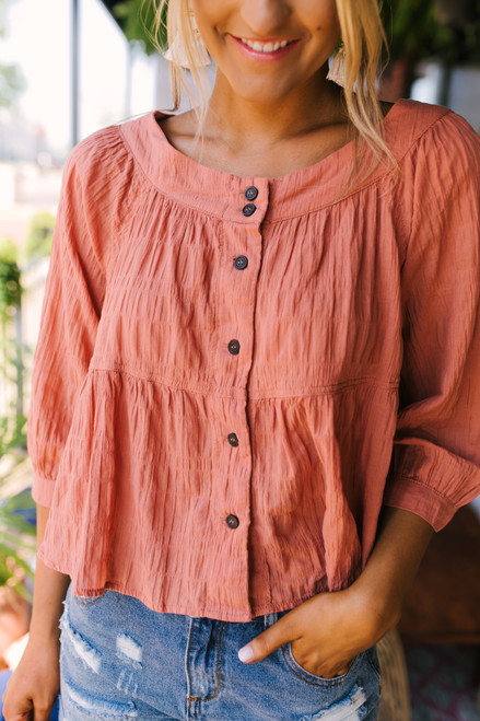 Free People Sea to Shore Peasant Top - Terracotta - FINAL SALE