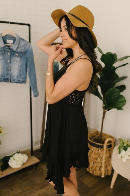 Free People Adella Slip Dress - Black