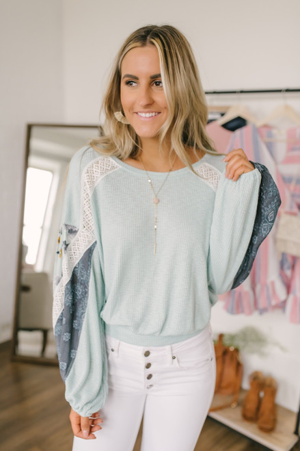 Free People Casual Clash Top - Mint  - FINAL SALE