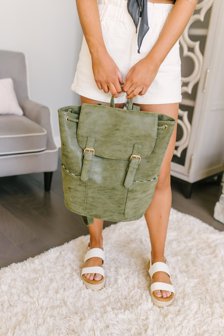 Sonoma County Distressed Buckle Backpack - Olive
