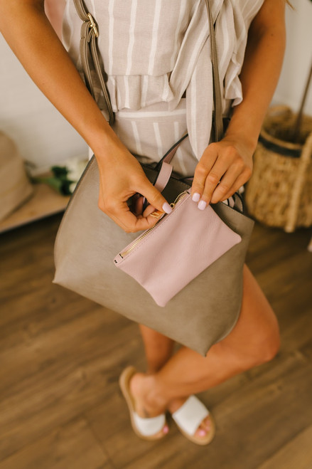 Reversible Mini Crossbody Tote - Dark Khaki/Mauve - FINAL SALE