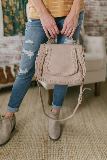 Double Zip Whipstitch Crossbody Bag - Natural