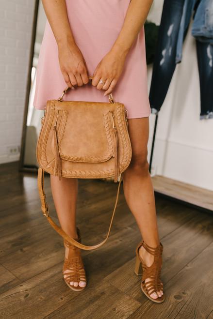 Double Zip Whipstitch Crossbody Bag - Tan - FINAL SALE