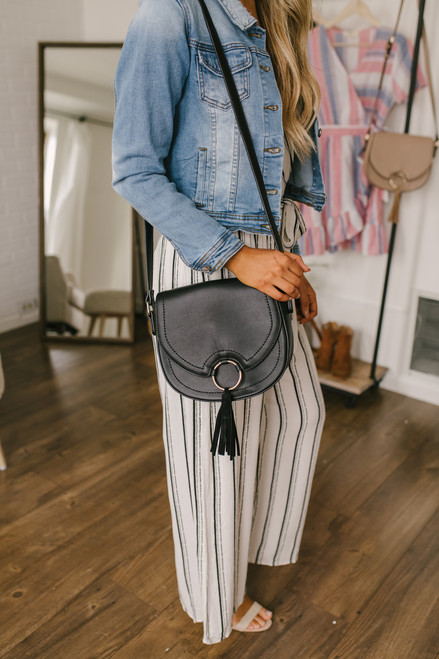 Tassel Detail Crossbody Saddlebag - Black - FINAL SALE