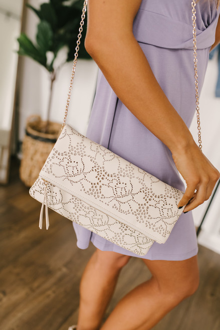 Floral Cutout Flap Over Crossbody - Ivory - FINAL SALE