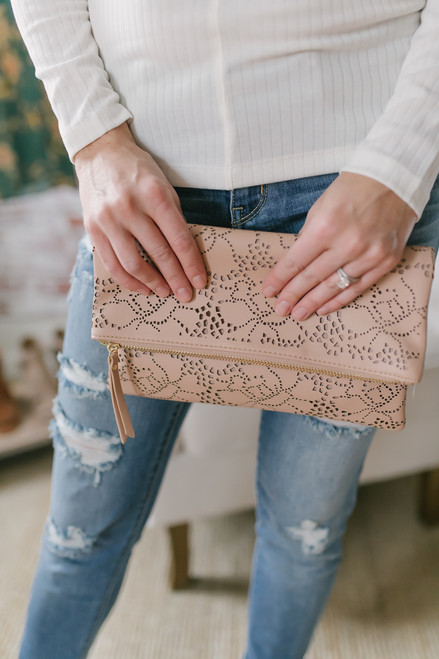 Floral Cutout Crossbody Clutch - Natural