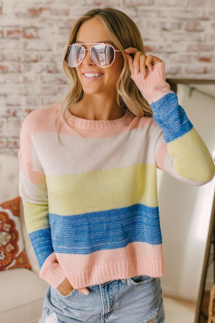 FLETCH by JoJo Stripe Sweater - Lemon Multi