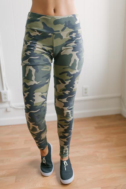 Everyday Camo Leggings - Olive Multi  - FINAL SALE