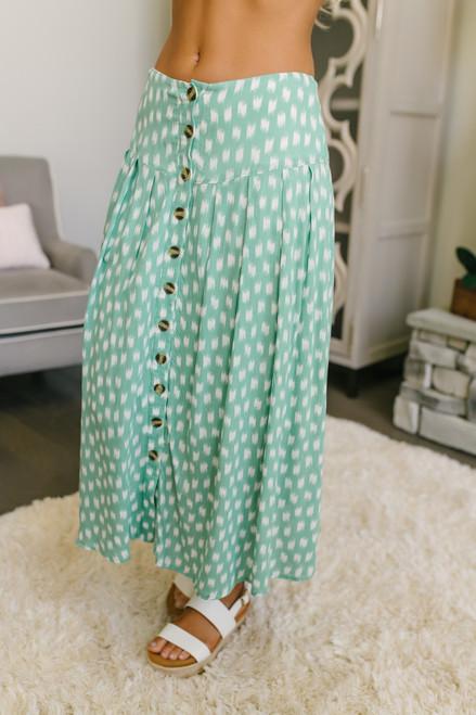 Everly Watercolor Dot Button Down Midi Skirt - Seafoam/White - FINAL SALE