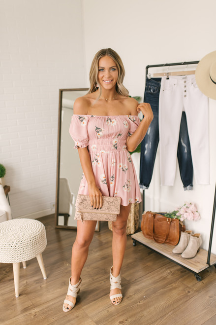 Off the Shoulder Ruched Floral Romper - Blush Multi