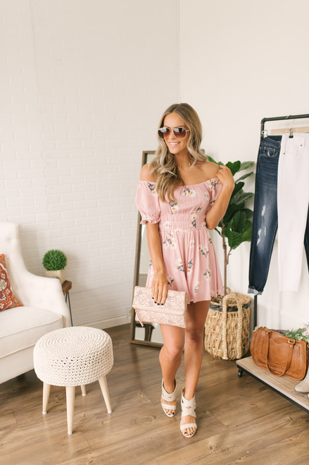 Off the Shoulder Ruched Floral Romper - Blush Multi - FINAL SALE