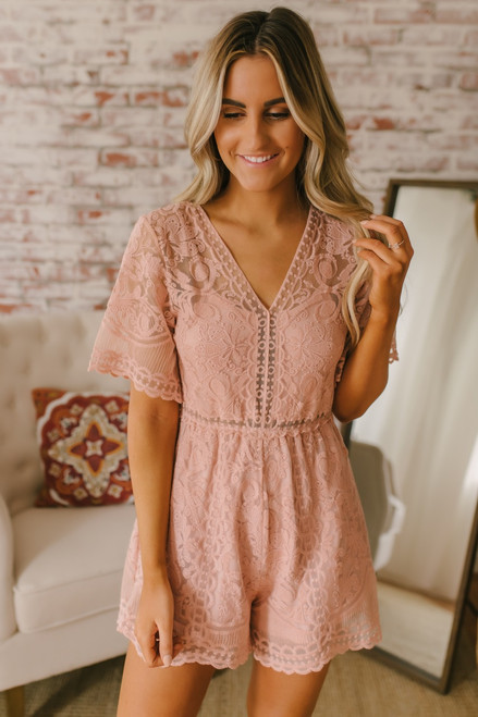 V-Neck Short Sleeve  Lace Romper - Blush