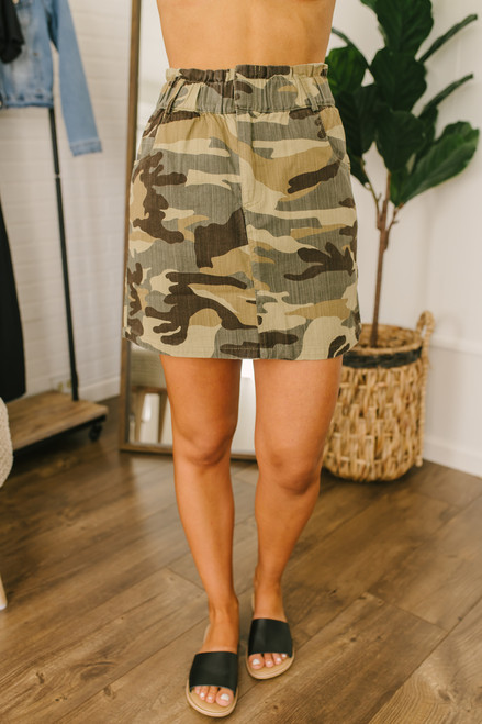 Say Something Camo Denim Skirt - Olive Multi