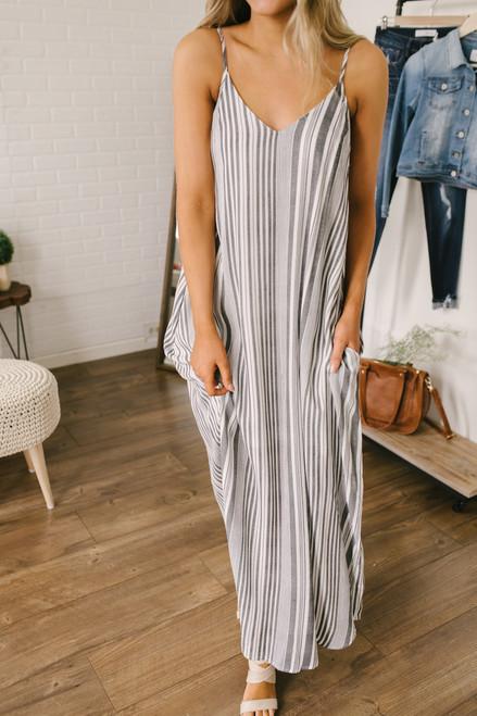 V-Neck Striped Pocket Dress - Black/White - FINAL SALE