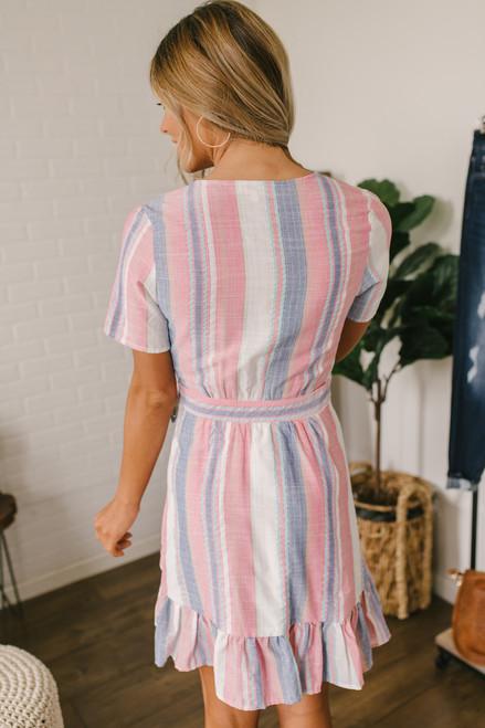 Hotel California Striped Ruffle Wrap Dress - Pink Multi  - FINAL SALE