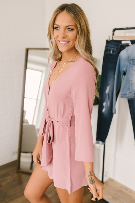 Tie Waist Button Down Romper - Mauve - FINAL SALE