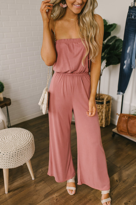 Sweet Harmony Strapless Jumpsuit - Marsala - FINAL SALE