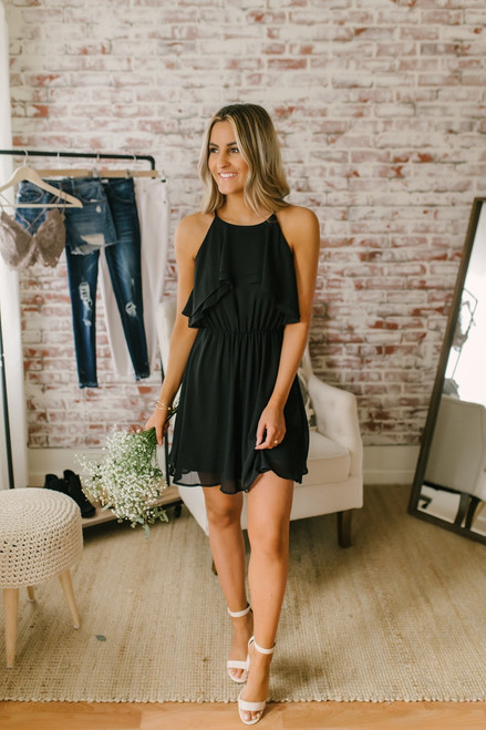 A Night in Paris Ruffled Dress - Black - FINAL SALE