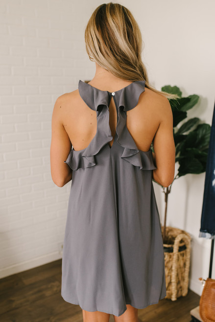 First Glance Ruffle Back Shift Dress - Charcoal