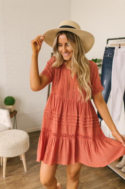 Crochet Detail Babydoll Dress - Burnt Amber
