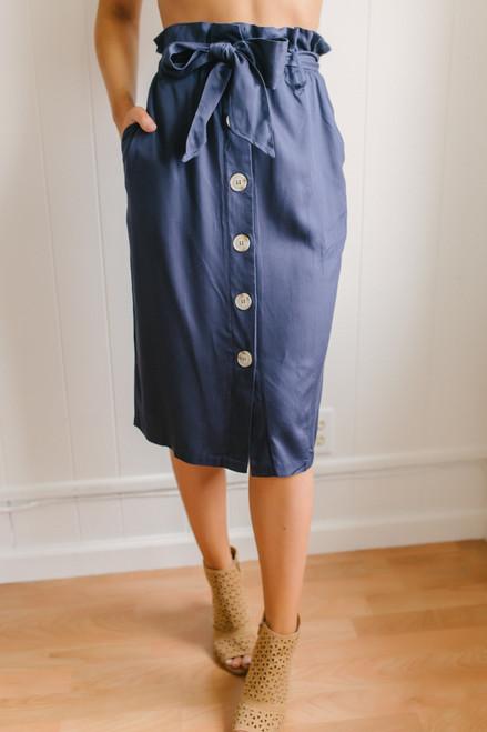 Button Down Midi Paperbag Skirt - Navy