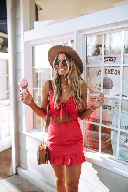 Siren Summer Ruffle Dotted Skirt - Red/White