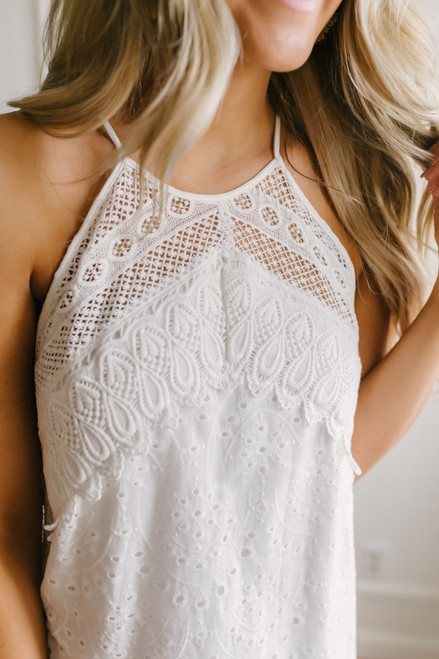 High Neck Scalloped Crochet Dress - Off White
