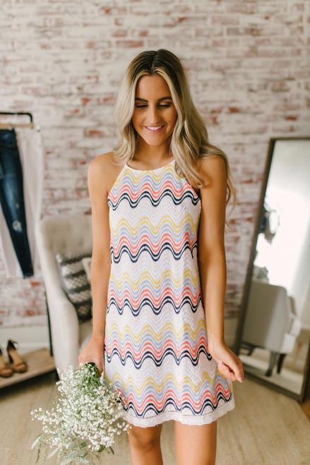 Wavy Embroidered Halter Neck Dress - Rainbow Multi - FINAL SALE