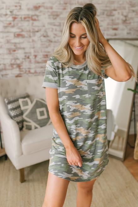 Contrast Camouflage T-Shirt Pocket Dress - Olive Multi