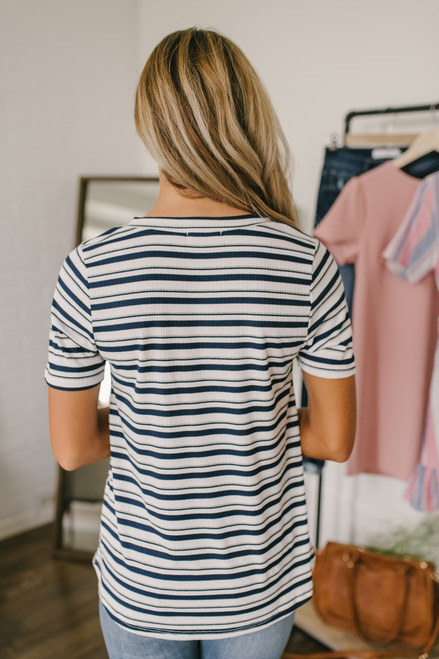 Striped Ribbed Crew Tee - Navy Multi