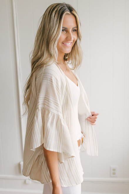 Ruffle Sleeve Striped Linen Kimono - Ivory/Taupe - FINAL SALE