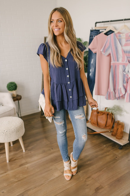 Cap Sleeve Button Down Tiered Top - Navy