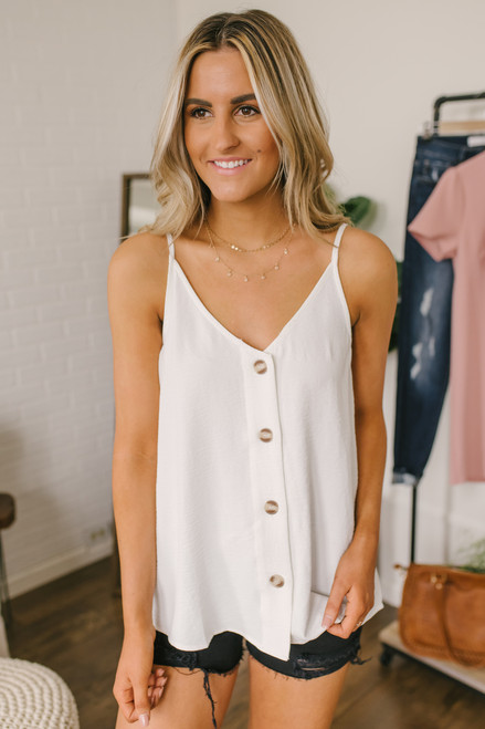 Pike Place Button Down Tank - Off White - FINAL SALE