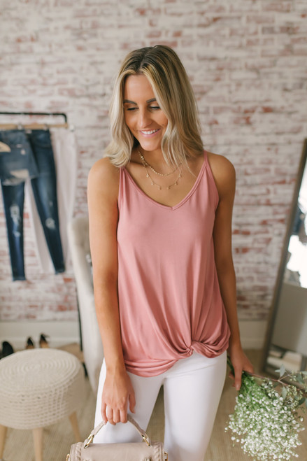 Road Trip Knotted Tank - Salmon- FINAL SALE