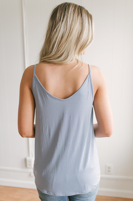 Road Trip Knotted Tank - Dusty Blue