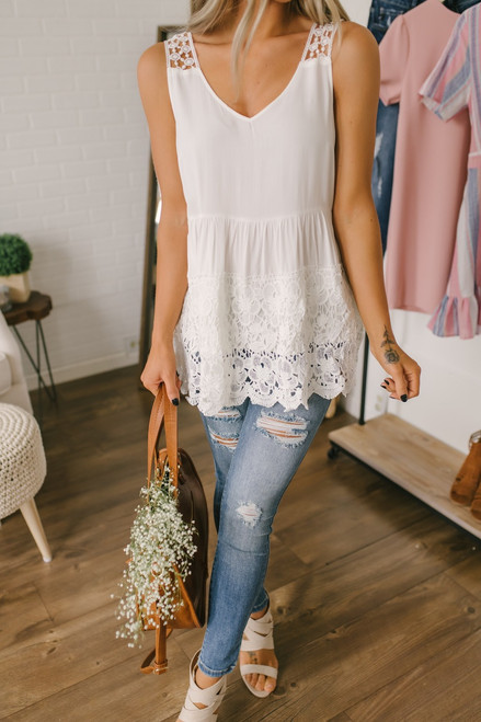 V-Neck Crochet Detail Babydoll Tunic - Off White