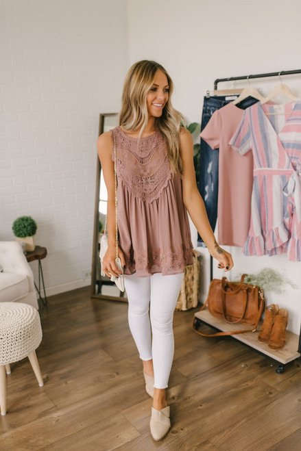 Afternoon in Paris Crochet Tank - Mocha