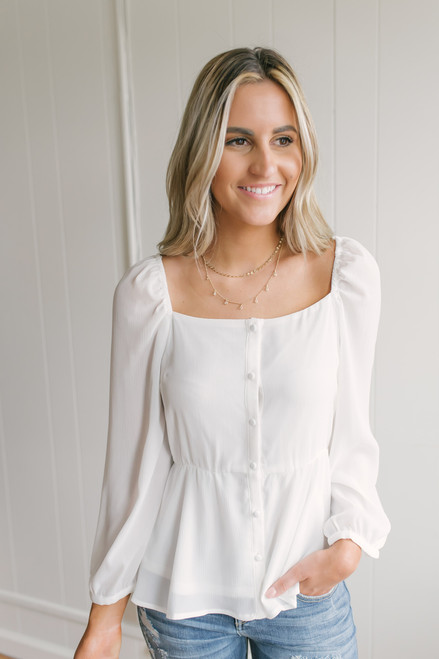 Square Neck Button Down Peplum Top - Off White